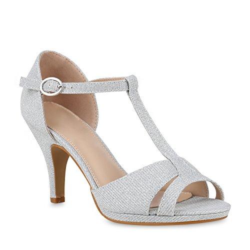 Damen Sandaletten High Heels Glitzer Schuhe Riemchensandaletten 153607 Silber Glitzer Camargo 38 Flandell