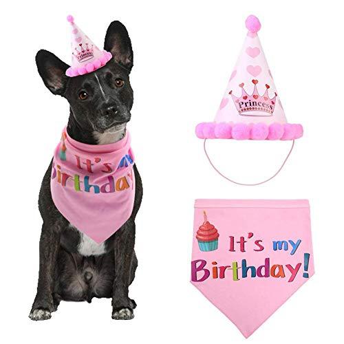 Haustier Hund alles Gute zum Geburtstag Bandana Prinzessin Hut Set Dreieck Schal niedlichen Hündchen für Mädchen Haustier Hund Welpe Geburtstag Party Dekoration (Pink)
