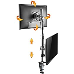RICOO Support PC pour 2 ecrans superposé Vertical TS3511 Double Bras orientable inclinable TV sur Pied Meuble de Bureau écran Ordinateur OLED Plat Moniteur Informatique articulé VESA 75x75 100x100