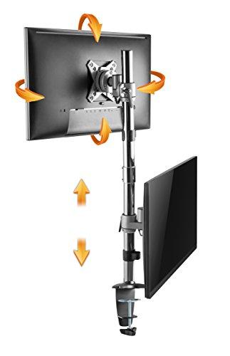 RICOO Vertikal Dual Monitor Tischhalterung TS3511 - für 2 Monitore Übereinander Halterung Schwenkbar Neigbar Höhenverstellbar Schreibtisch Bildschirm-Ständer VESA 75x75 100x100 / Silber -