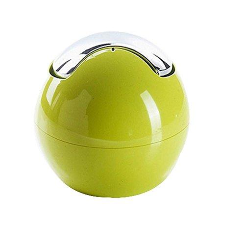 QJIAXING Mode-Welle Abdeckung Gesundheit Fässer kreative farbige kugelförmige kleine Büro-Desktop-Speicher Fässer Müll Schutt Eimer Mini , green -