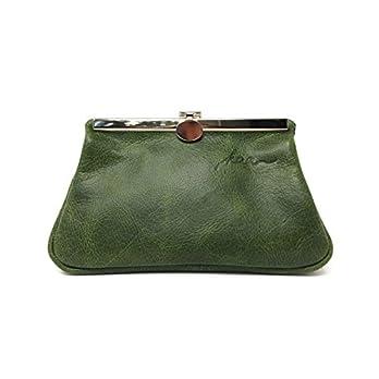 Kosmetiktasche aus Leder Schminktasche Utensilo Make up Tasche grün