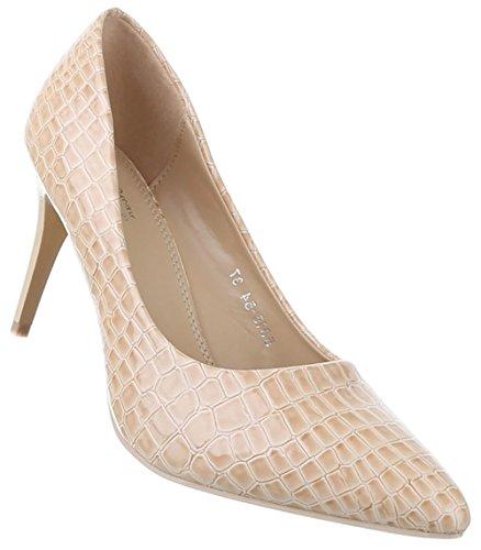 Damen-Schuhe Pumps | Frauen High Heels mit 8 cm Stiletto-Absatz in Beige und Größe 38 | Schuhcity24 | Klassische Abendschuhe in Schlangenlederoptik