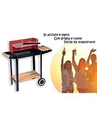 Barbacoa carbon portatil - de madera y acero 83x28x83cm - incluye mesa parrilla