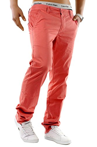 Herren Chino Hose Regular Fit Passform · Schicke Sommerhose · Chino Stretch Jeans · Baumwoll-Elasthan-Mix · Straight Leg · Große Farbauswahl H1245 Lachs