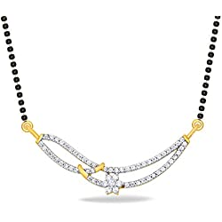 P.N.Gadgil Jewellers 18KT Yellow Gold and Solitaire Mangalsutra for Women