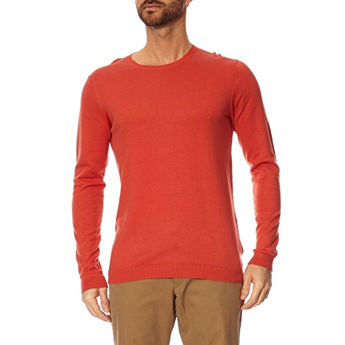 SELECTED - - Homme - Pull col rond rouge bicolore patch pour homme Rouge