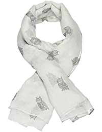 Owl Print Long Scarf in Dusty Beige