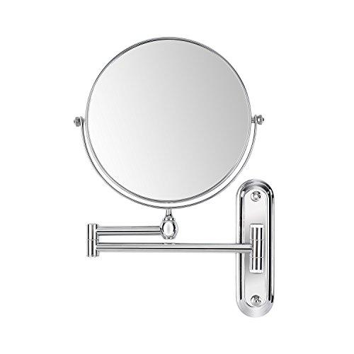 FEMOR Kosmetikspiegel 10fach & normal Zweiseitiger Schminkspiegel Rasierspiegel Wandmontage, Wandspiegel Badspiegel für Schmink und Rasier
