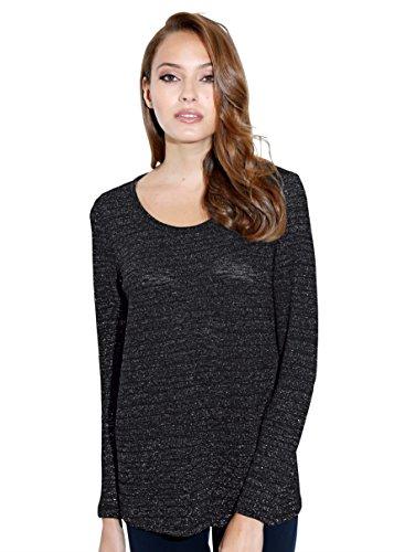 Damen Shirt mit metallisiertem Garn by AMY VERMONT Schwarz/Silberfarb