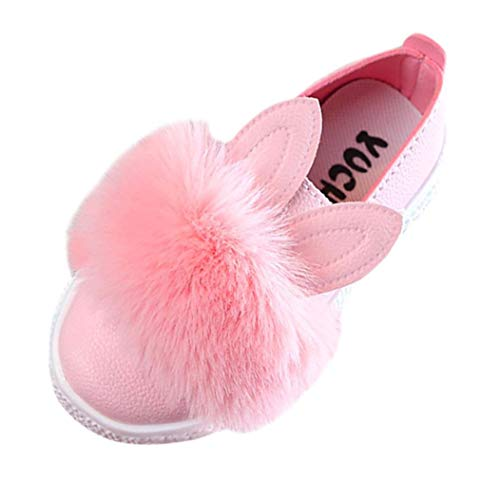 Voberry@ Voberry@ Baby-Girl's Fur Bunny Rabbit Ears Slip On Loafers Pu Leather Flats Sneakers Shoes