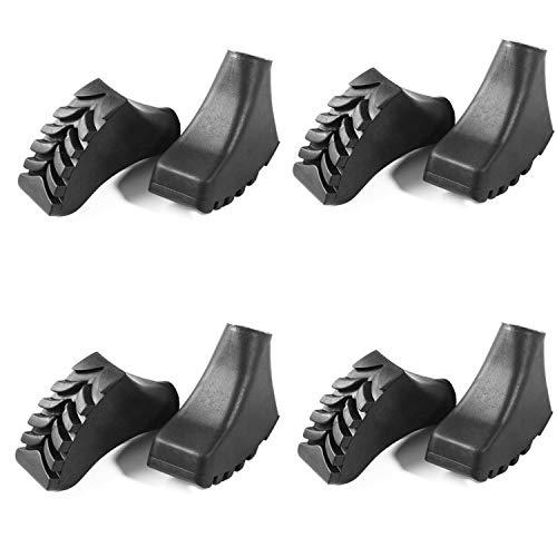 Yrlehoo 4 Paare Walking Asphaltpads Trekking Pads Gummipuffer für alle gängigen Modelle Wanderstöcke Nordic-Walking-Stöcke Aufsätze Ersatzfüße Premium Qualität, Schwarz