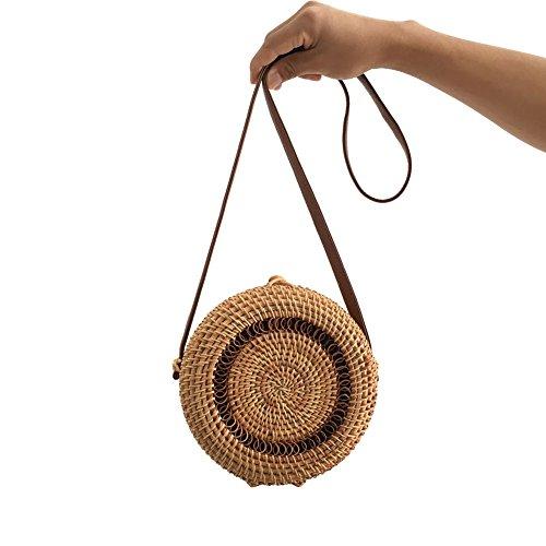 Stroh Strandtasche, Handgemachte Sommer Runde Rattan Korbtasche füR Täglicher Gebrauch und Reise mit Innenlining und Kreuzverschluss (G)