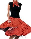 Karnevalsbud - Erwachsene Rock und Schal im Rock´n´Roll Style mit Punkten, XL, Rot-schwarz