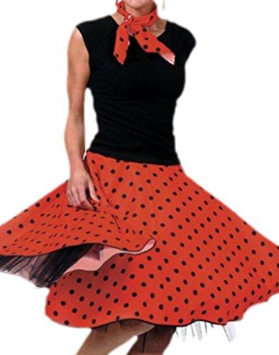 Karnevalsbud - Erwachsene Rock und Schal im Rock´n´Roll Style mit Punkten, XXL, Rot-schwarz