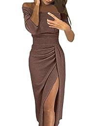 d42cd529ccb3 LANSKRLSP Elegante Vestito Dorato Lustrini Cerimonia Vestiti da Cerimonia  Corti Le Donne Sexy Moda Maniche Lunghe