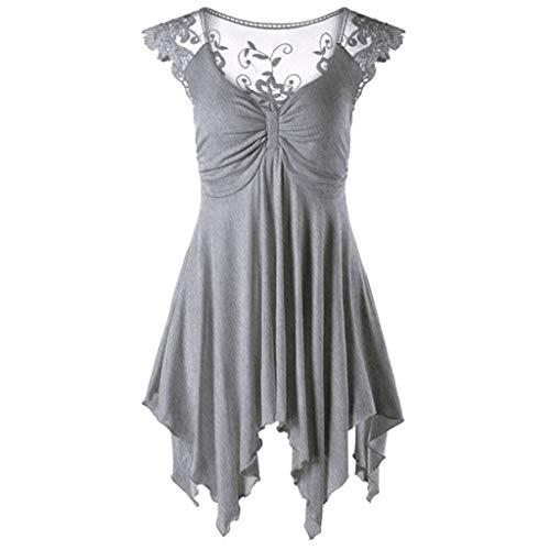 Nyuiuo Damen V Ausschnitt Ärmelloses Spitze Kleiden Mode Unregelmäßige Lose Top ärmellose Spitze Unregelmäßige V-Ausschnitt Shirt ()