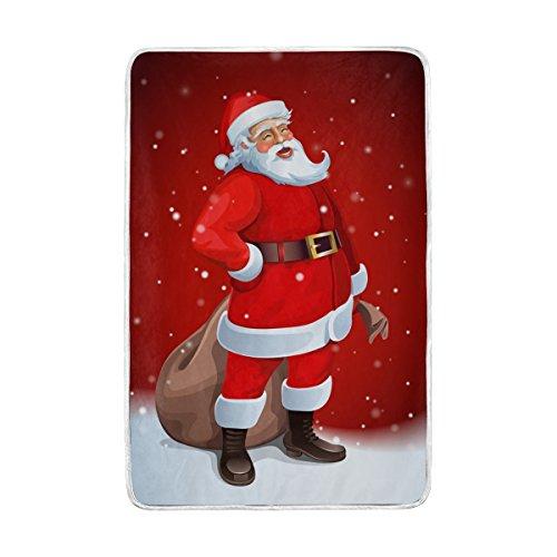 Cama manta, lujo Navidad Papá Noel suave poliéster con forro polar t