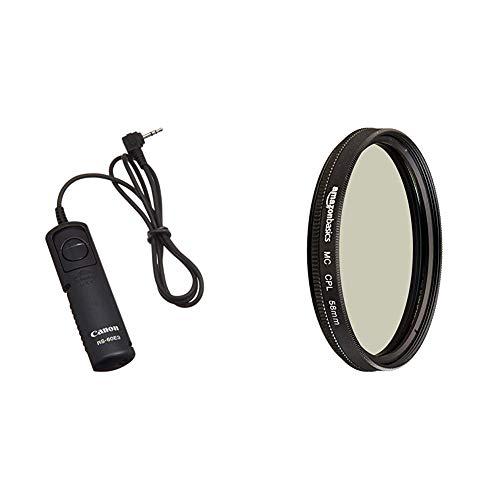 Canon RS-60 E3 Kabelfernauslöser & AmazonBasics Zirkularer Polarisationsfilter - 58mm (Canon Kamera-auslöser Fernbedienung)