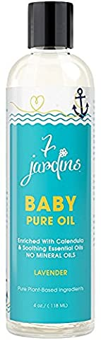7 Jardins Natural Baby Pure Oil - Hydrating, Gentle & Nourishing For Healthy Skin, 4 Ounces. Enriched With Essential Oils Of Lavender And Calendula. Safe And Sulfate Free.