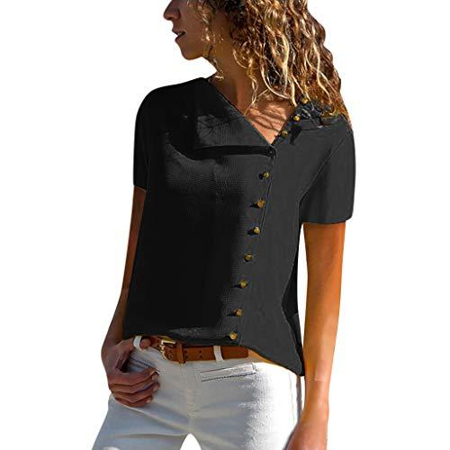 CUTUDE Sommer Damen Freizeit Volltonfarbe Revers Neck T-Shirt Kurzarm Schnalle Bluse Tops (Schwarz, Small) -