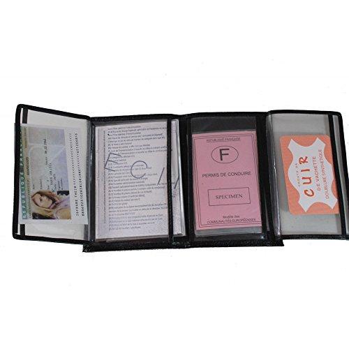 Frédéric Johns® - Ausweismappe - Ausweisetui - KFZ - Brieftasche Leder - Zulassungsschein hülle - Ausweishülle Leder - (Schwarz)