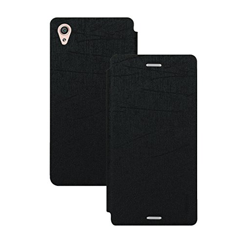 Heartly Premium Luxury PU Leather Flip Stand Back Case Cover For Sony Xperia X Dual F5122 – Best Black