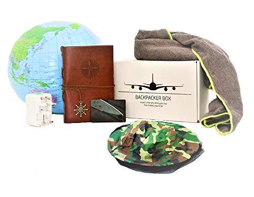 BACKPACKER TRAVEL BOX - Reisetagebuch, Mikrofaser-Handtuch, Steckdosenadapter + Travel-Gadgets in moderner Geschenkbox +90 x 150cm Flagge von Australien, Neuseeland, USA, Kanada oder Südafrika (Asien)
