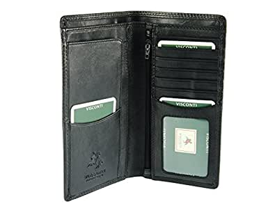 Visconti Mens Jacket Coat Leather Wallet For Credit Cards & Banknotes From Heritage Collection - HT12 (Black)