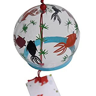 ACEVER Japanese Hand Painted Glass Wind Chime Edo Furin (Fishes in Love)