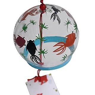 Japanisches, handbemaltes Glas-Windspiel Edo Furin (Verliebte Fische)