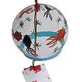 Japanisches, handbemaltes Glas-Windspiel Edo Furin (Verliebte Fische) -