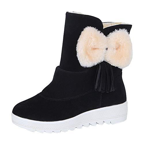 Fenverk Frau Einfarbig Mit Bogen Krawatte SchlüPfen BeiläUfig Schuhe Warm Winter Pelz Futter Verdickung Draussen Gehen Anti-Rutsch Schnee Stiefel(Schwarz,36EU) -