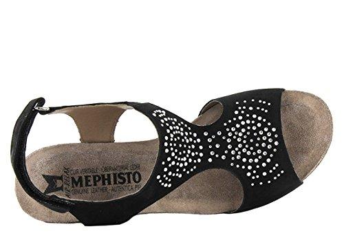 Mephisto Jodie Spark Bucksoft 6960 Warm Grey, Plate-forme Sandales compensées femme Noir