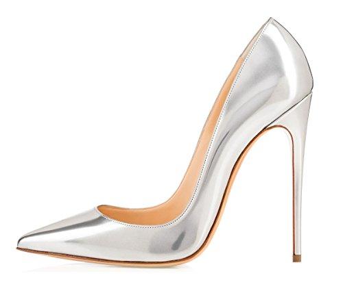 Escarpins Femme High Argent Vernis Edefs Grande Aiguille 120mm Heel 05q5wrxR