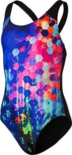Speedo Mädchen PopFlash Placement Digital Spashback Badeanzug Schwarz/New Surf/Rosa-Violett 30 (152 cm)