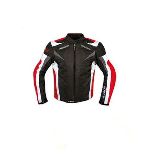 Giacca-Tessuto-Moto-Protezioni-CE-Manica-Staccabile-Gilet-Termico-Rosso-XXL