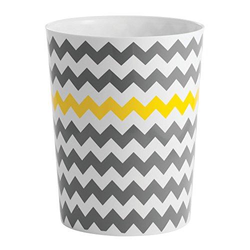 mDesign Abfallsammler aus hochwertigem Kunststoff - perfekt als Mülleimer in der Küche, Papierkorb im Kinderzimmer oder Abfalleimer im Bad - verspieltes Zick-Zack-Muster grau/gelb