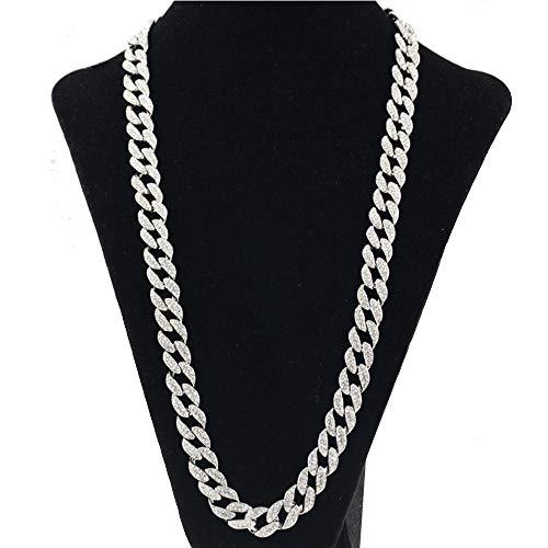 DEQIAODE Herren Cuban Link Kette Kristall Zink-Legierung Gold Silber Halskette Gliederkette Hiphop Kette18/20/24/30 inch Länge(Breit 1.5cm),Silver,18inch (In Silber-kette 18)