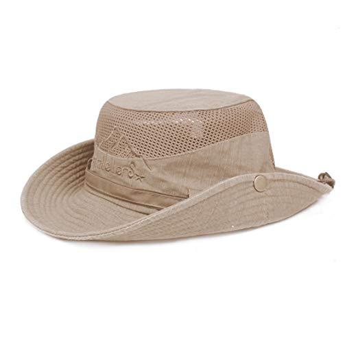 Imagen de algodón cubo sombreros para los hombres simple bordado protección uv sun pescador sombrero transpirable cap sunshape de malla para la pesca de la caza al aire libre activies