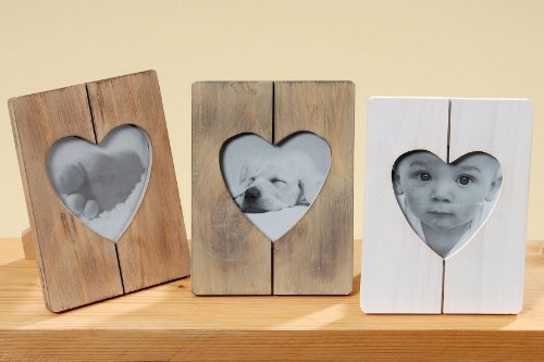 Bilderrahmen Holz weiß- lackiert mit Herz- Passepartout 11 x 11 cm Rahmenformat