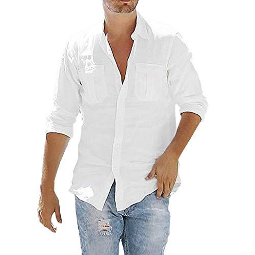 Tyoby Herren Baggy Baumwolle Leinen Tasche Solide Langarm Retro T-Shirts Tops Sommer Bequeme Herrenbekleidung(Weiß,XXL)
