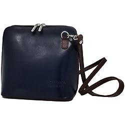 Monahay - Bolso pequeño cruzado, de cuero italiano, artesanal - Dark Blue-Brown