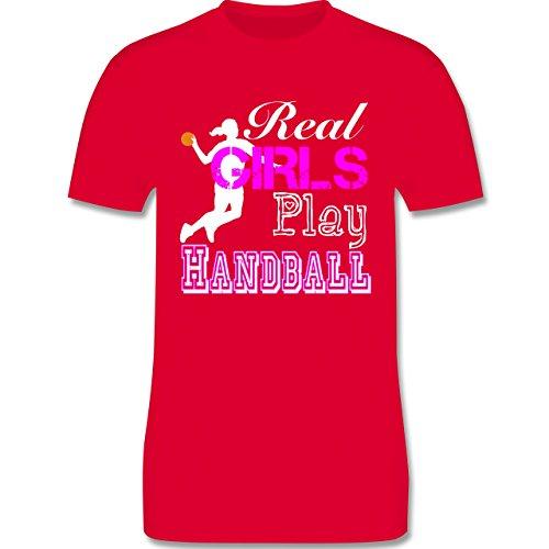 Handball - Real Girls Play Handball weiß - Herren Premium T-Shirt Rot