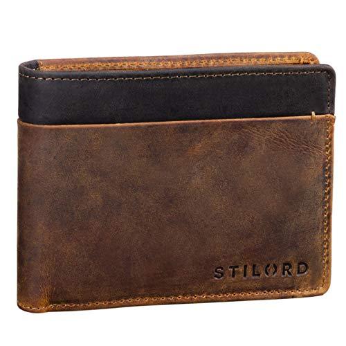 STILORD 'Sterling' Cartera RFID Hombre Cuero Portamonedas NFC Bloqueo Monedero Clásico Billetera Portatarjetas de Piel Genuino, Color:marrón - Medio