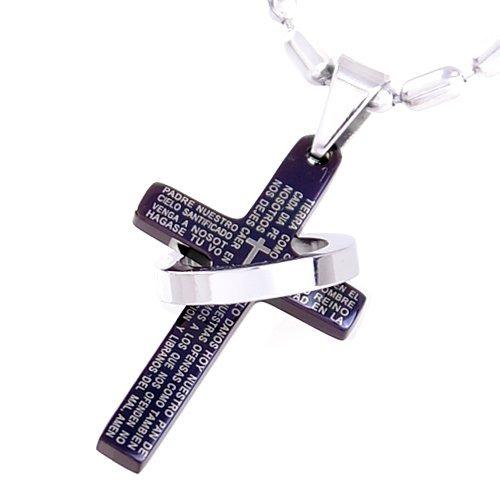 DonDon-Collana con pendente a croce nera e anello in acciaio inox