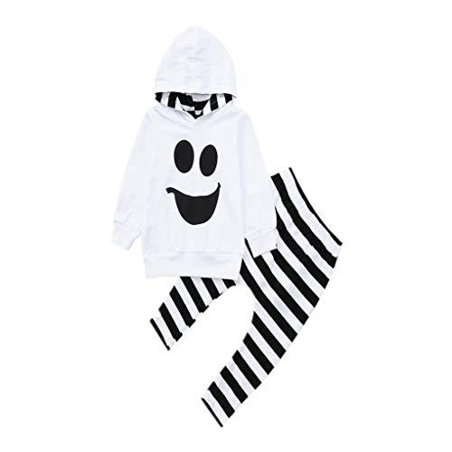 Baby Geist Kostüm Halloween - Lomelomme Halloween Geist Kostüm Kinder Sweatshirt mit Kapuze Schwarz Unisex Winter Schlafanzug Party Langarmshirt Oberteile und Hosen Baby Junge Mädchen Kapuzenpullover Sportanzug für Kinder