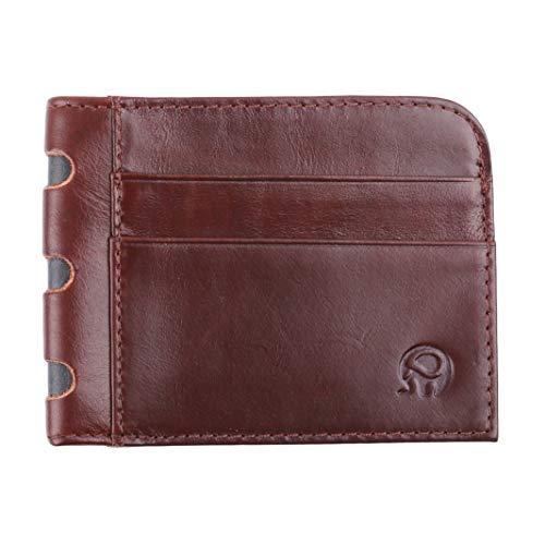 Underleaf Männer Frauen Vintage Brieftasche Visitenkartenhalter Bankkartenhalter Leder Kuh Pickup Paket Schlank Leder Multi-Karte-Bit Pack Tasche (Rotwein) -