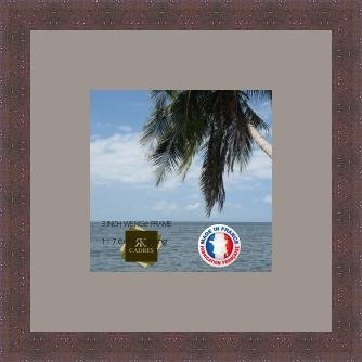 Bilderrahmen mit Passepartout Grau TV Wand Bilderrahmen für ein Bild 19x19 / 19 x 19 cm Rahmen Wenge, 3 cm breiten Holzleisten, Holzrahmen