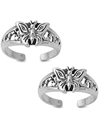 Silvernshine Women's 14K White Gold Fn 925 Sterling Silver Small Butterfly Adjustable Toe Ring Set